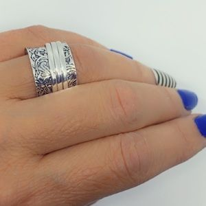 Jewelry - Spinner Ring Sterling Silver Stamped Wide Band